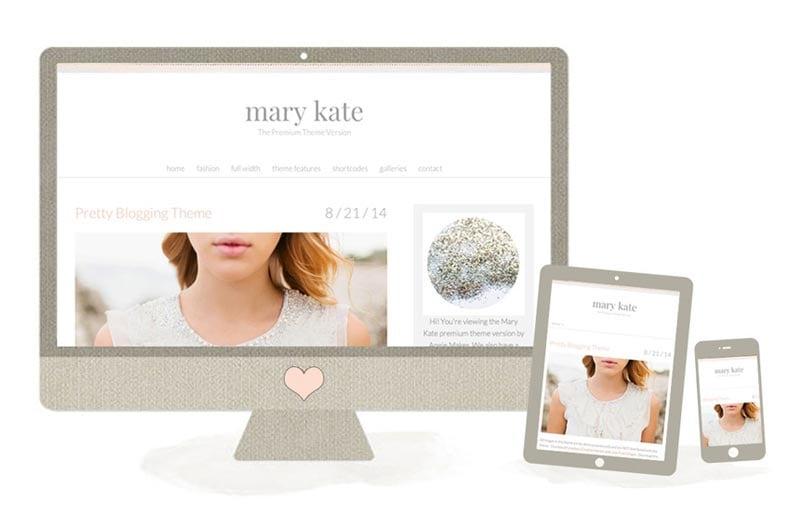 Free feminine girly wordpress theme Mary Kate by Angiemakes