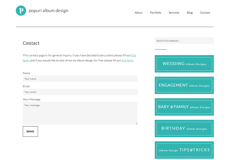 screenshot contact page popuri album design