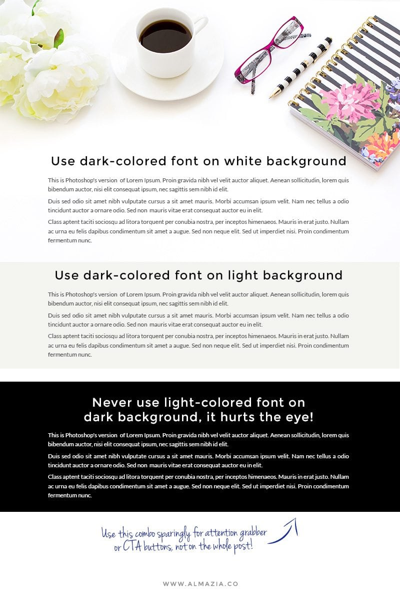 Use dark font on light background