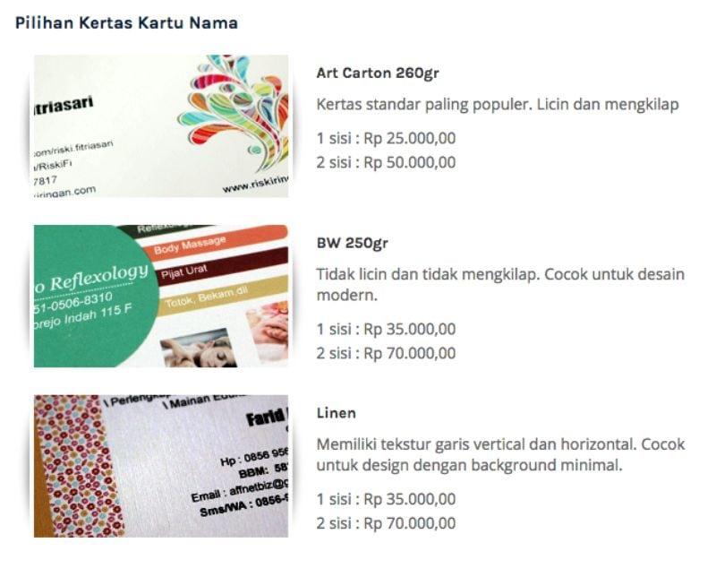 pilihan kertas kartu nama praktis print -  cara membuat kartu nama