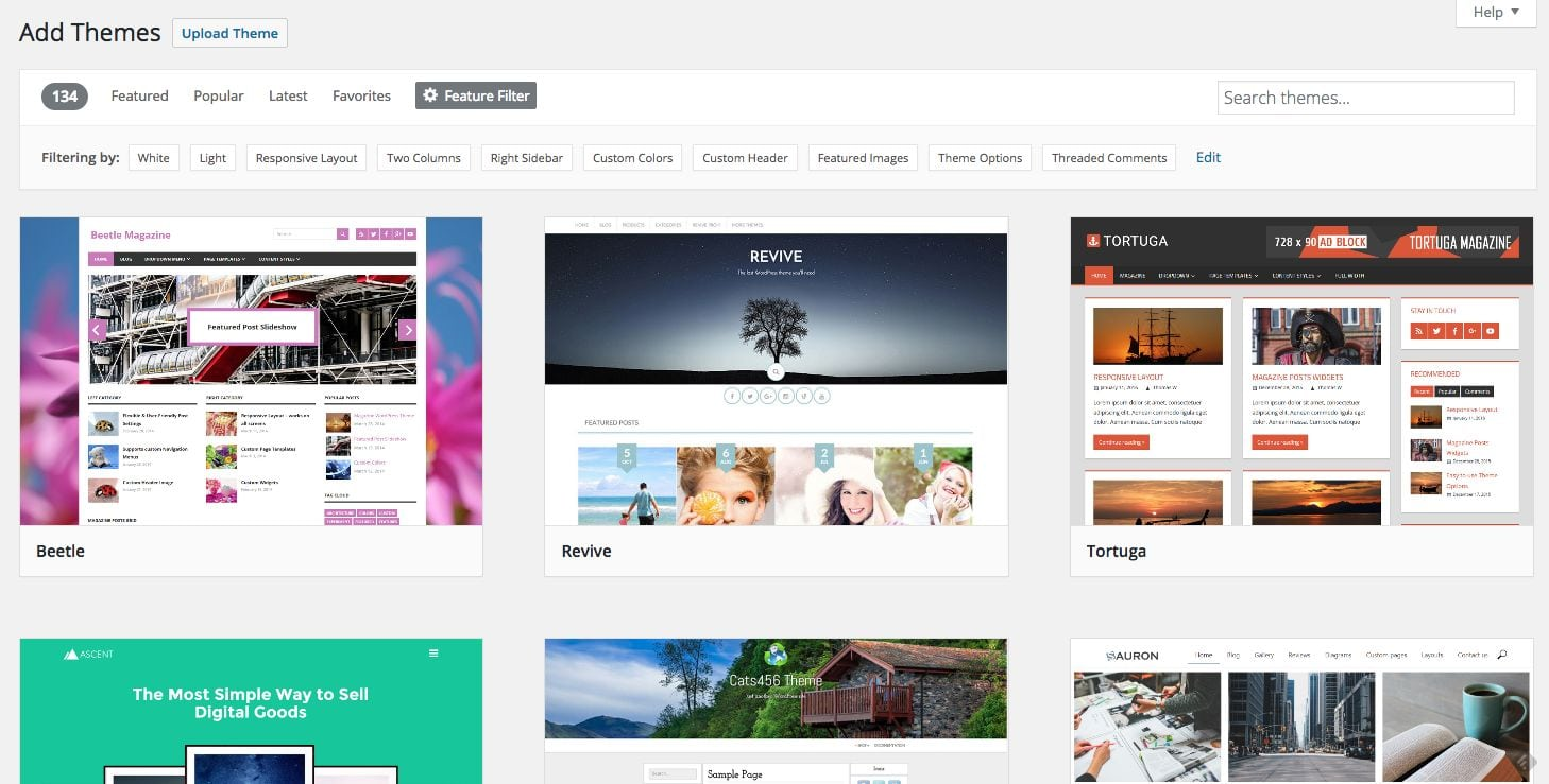 00 dashboard wordpress themes feature filter result