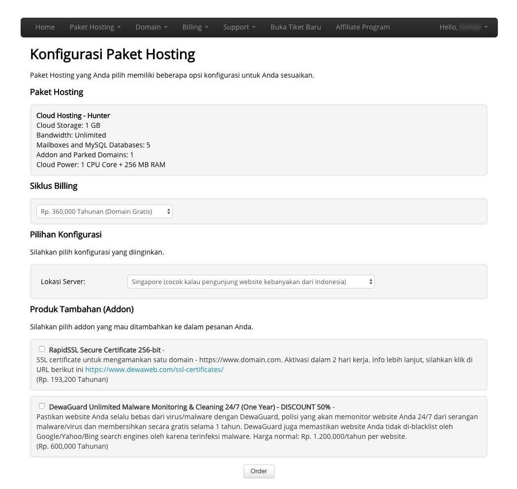 Konfigurasi Paket Hosting