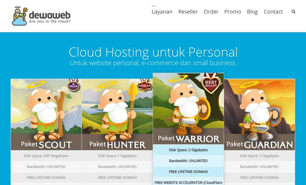 Paket cloud hosting Dewaweb