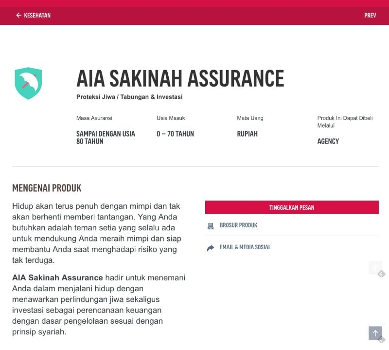 AIA SAkinah Assurance website