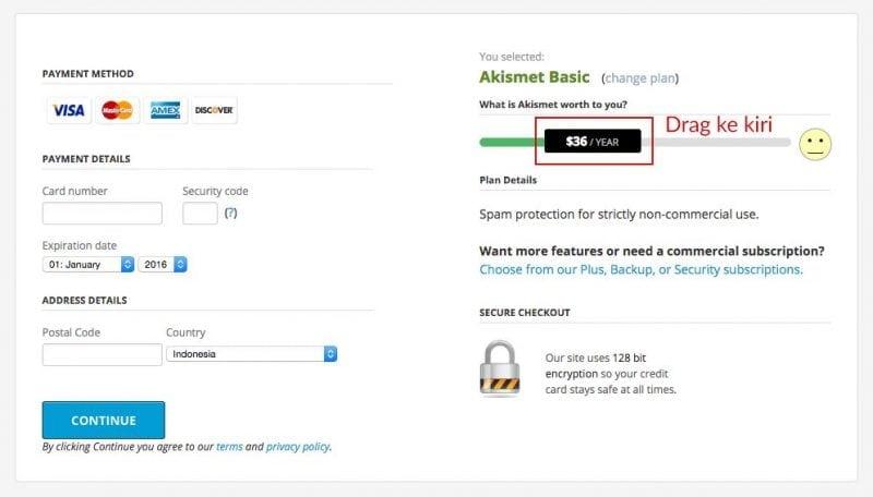 By default, pake Akismet basic dihargai $36 per tahun, tapi harga ini bisa di-slide ke kiri sampai $0 alias gratis. Klik Continue.