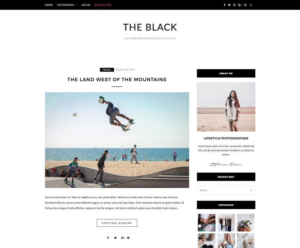 The Black Blacklite Free Simple and Clean WordPress Themes For Your Blog