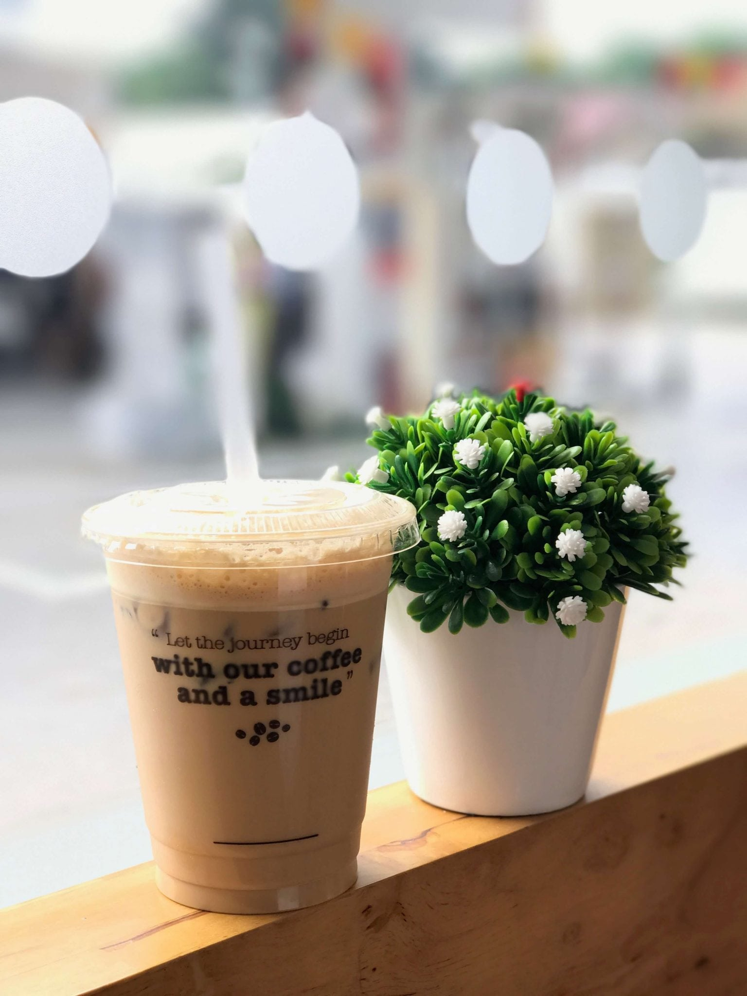 Iced cappucino in a plastic cup