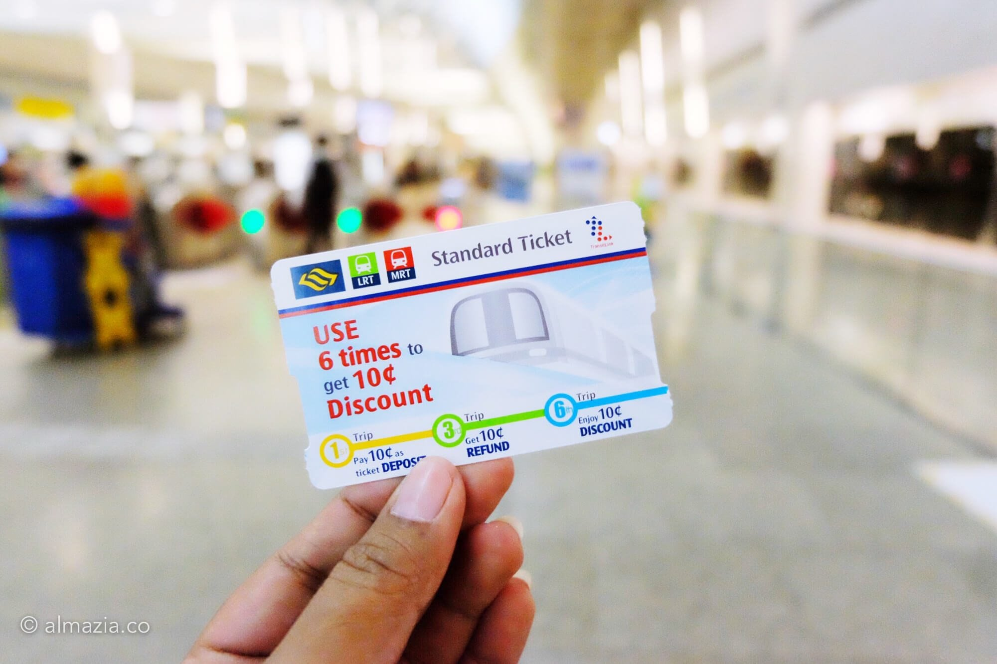 Standard Ticket untuk naik MRT/LRT; hanya bisa digunakan 6 kali